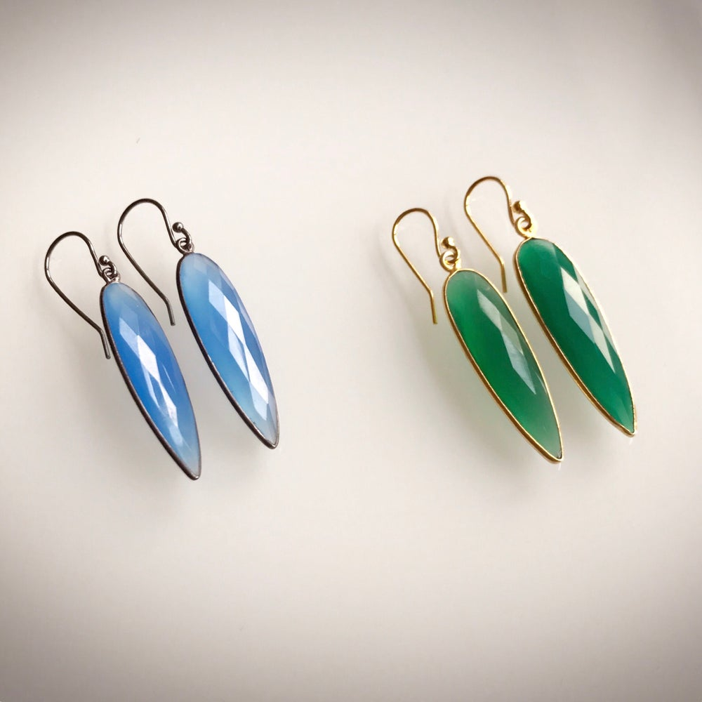 Image of Oblong Drop Color Earrings