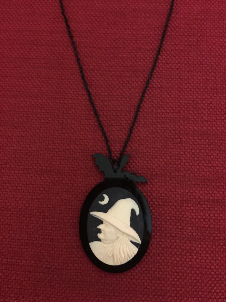 Image of Bat witch cameo necklace