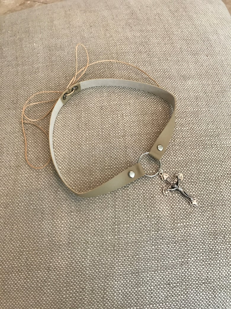 Image of Choker - Tan vinyl with silver detailed cross