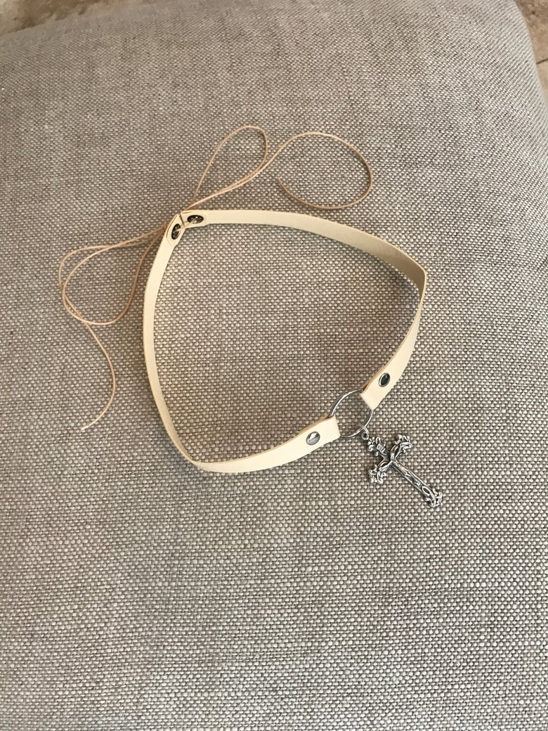Image of Choker - Cream vinyl with silver detailed cross