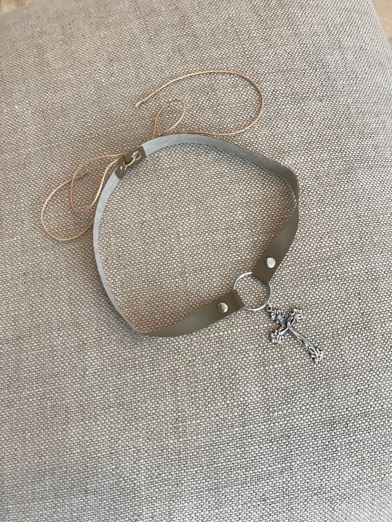 Image of Choker - Brown Vinyl with silver detailed cross