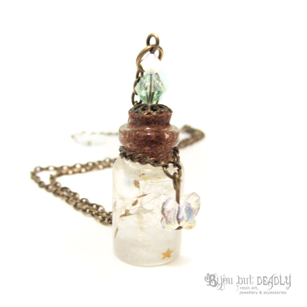 Dandelion Wishes in Bottle Necklace