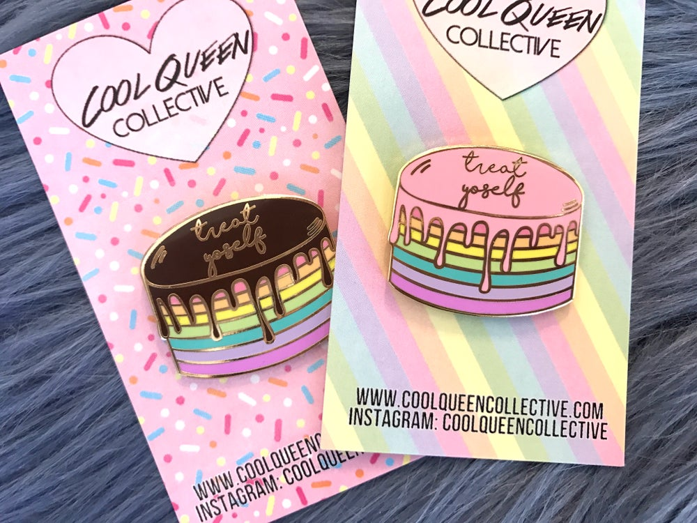 Image of Treat Yoself Cake Enamel Pin - v. 2 (PASTEL)
