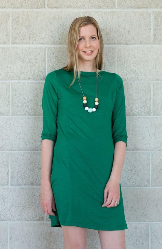 Image of Coffee group dress - Merino breastfeeding dress
