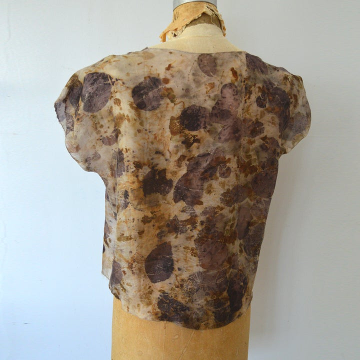 Image of eco print tissue tee in plum