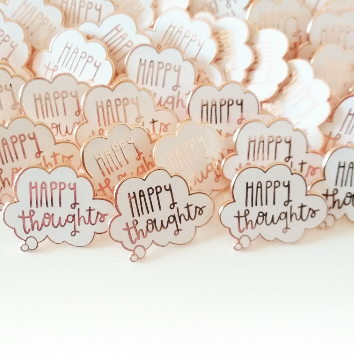 Happy Thoughts Rose Gold Hard Enamel Pin
