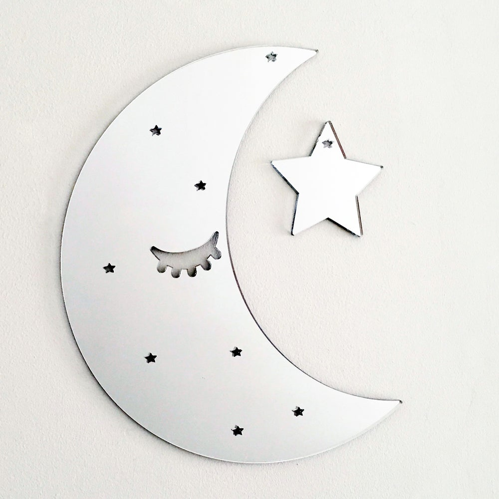 Image of Silver Acrylic Sleepy Moon Mirror and Star
