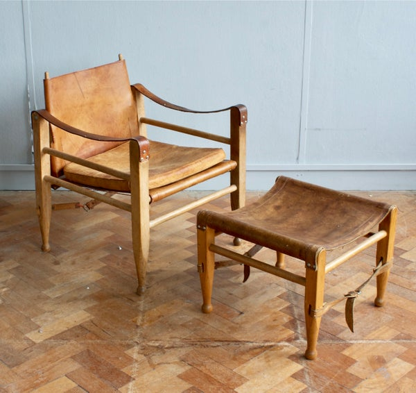Image of Danish leather safari chair and ottoman by Børge Mogensen
