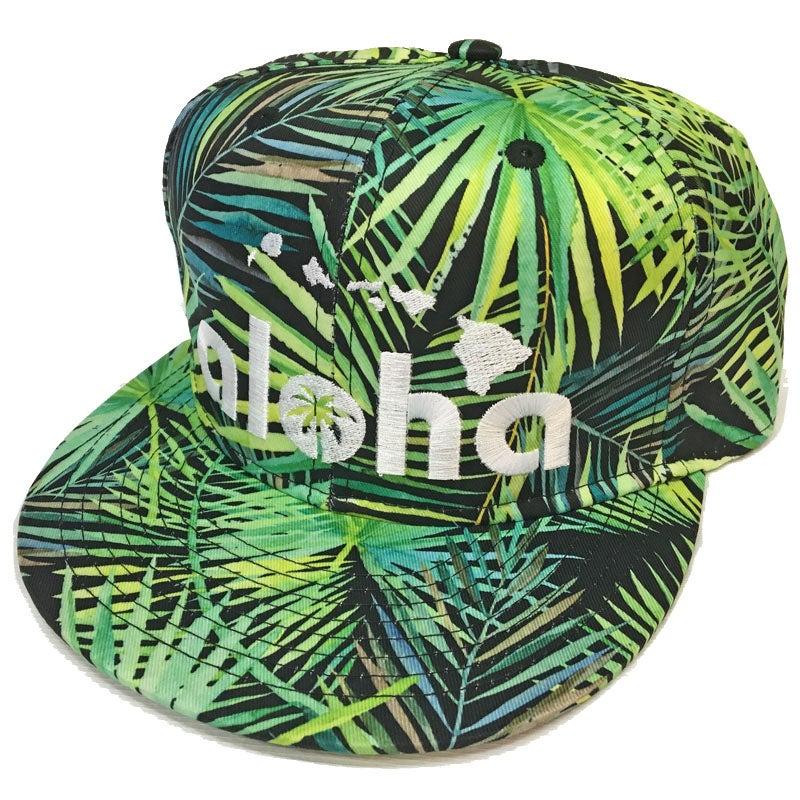 Image of Aloha Black Fan Palm Pattern Snapback Hat