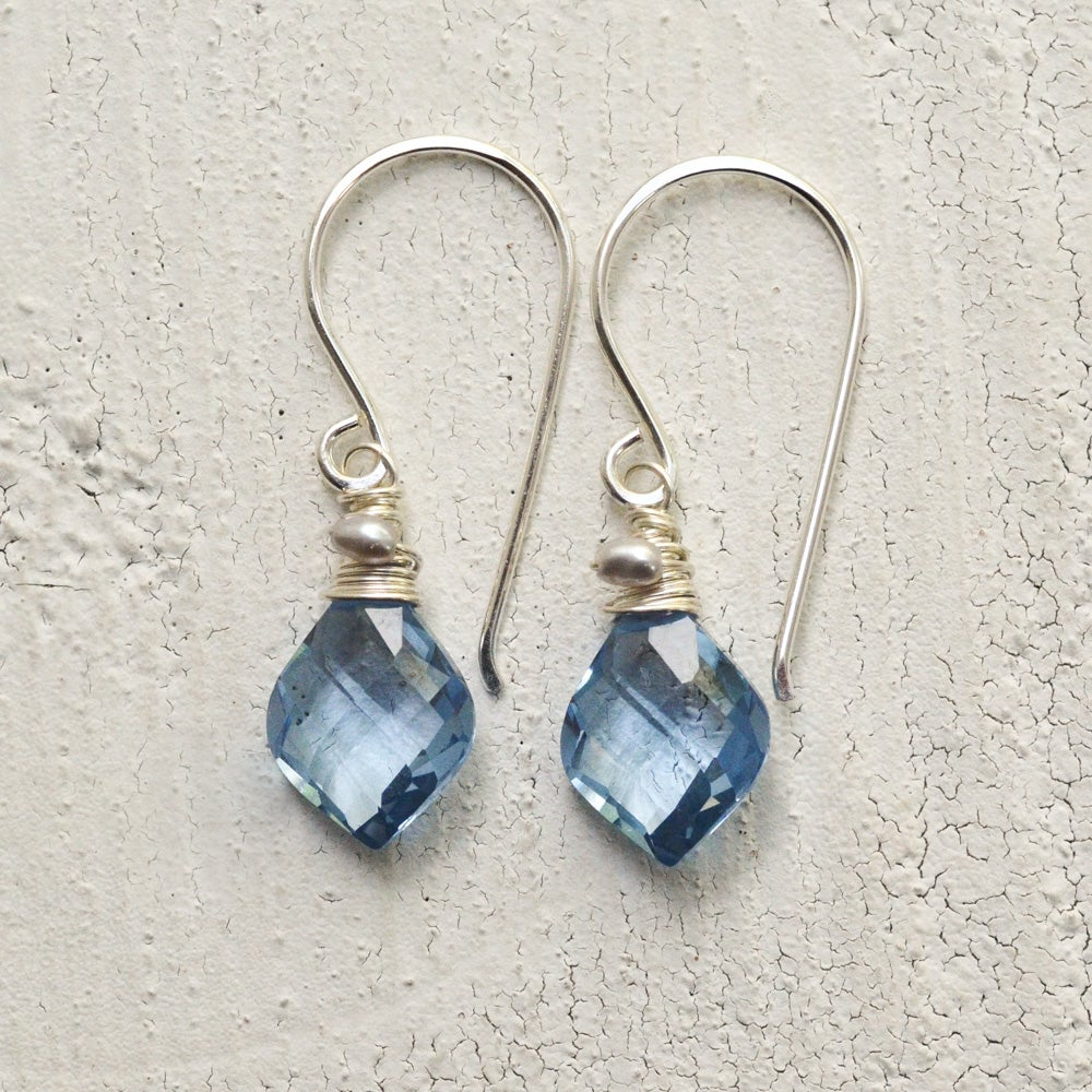 Image of Curvy simulated blue spinel earrings sterling silver