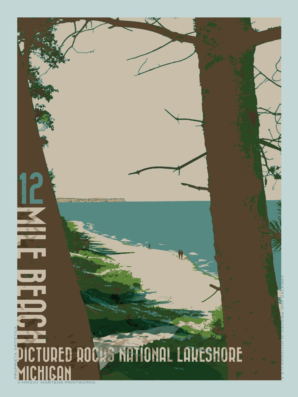 Image of Twelve Mile Beach in Pictured Rocks National Lake Shore 18x24 Print No. [071]