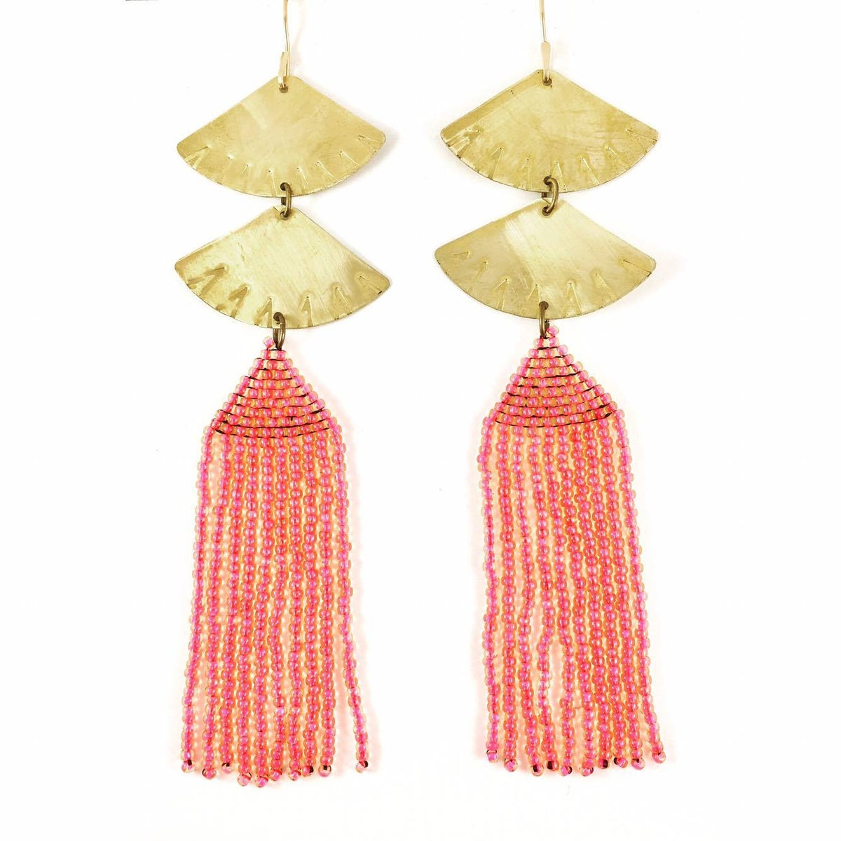 Image of Pink Fan Tassel Earrings