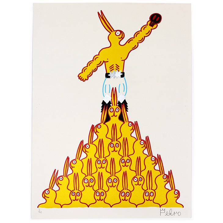 Image of Bunt The Rabbit Pyramid (hand finished print) / Petro