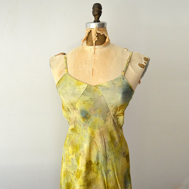 Image of eco print silk slip dress