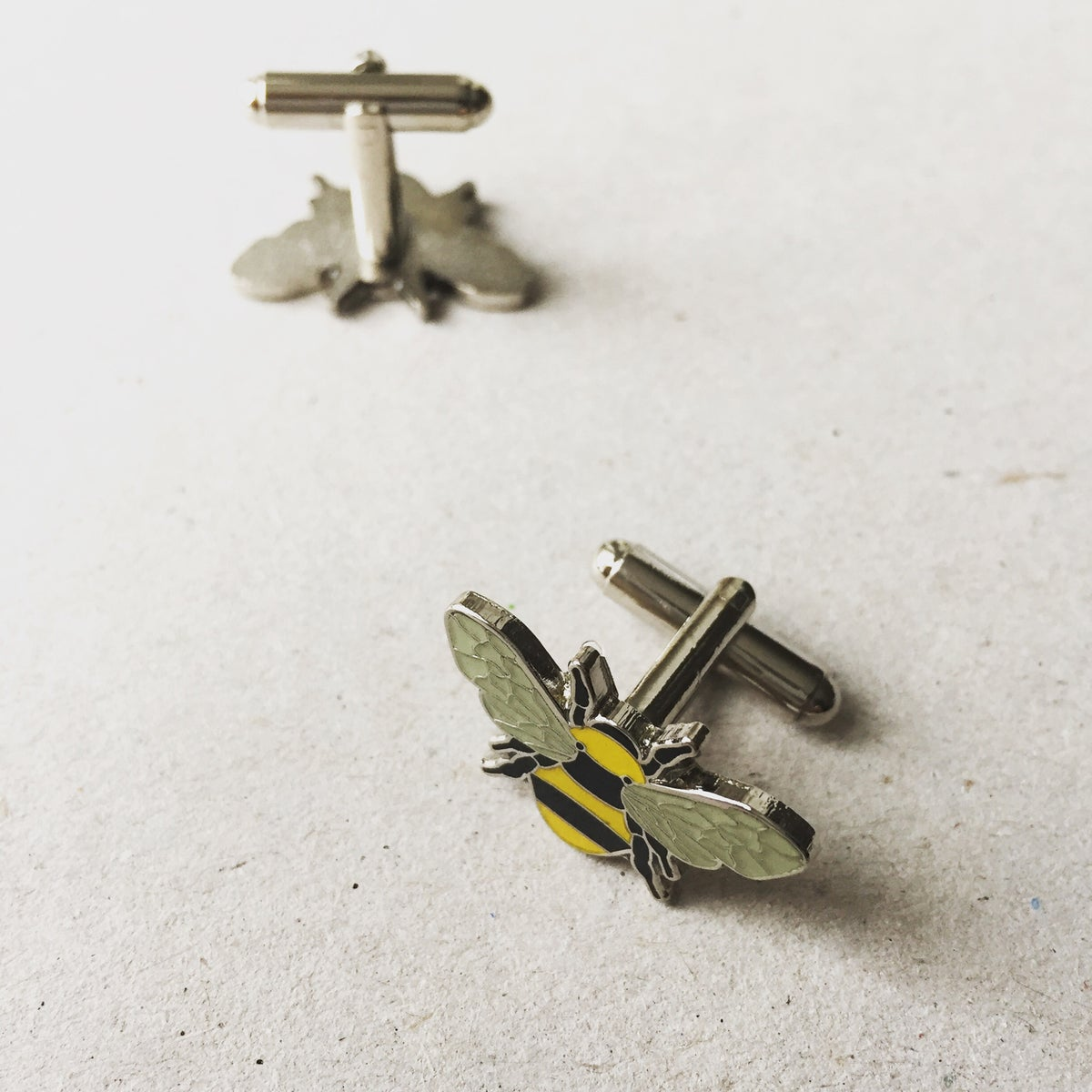 Image of Enamel Bee Manchester Bee Cufflink Set - Available in 4 colours