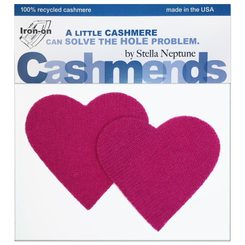 Image of IRON-ON CASHMERE ELBOW PATCHES -HOT PINK HEARTS