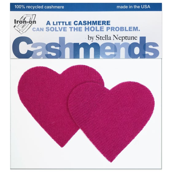 Image of IRON-ON CASHMERE ELBOW PATCHES - DARK PINK HEARTS