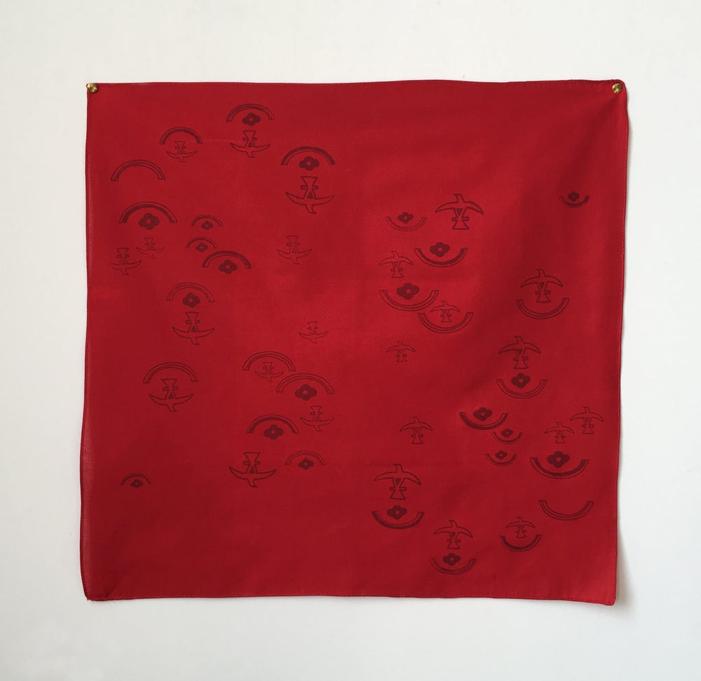 Image of Eagle + Rose Moon Bandana in Red