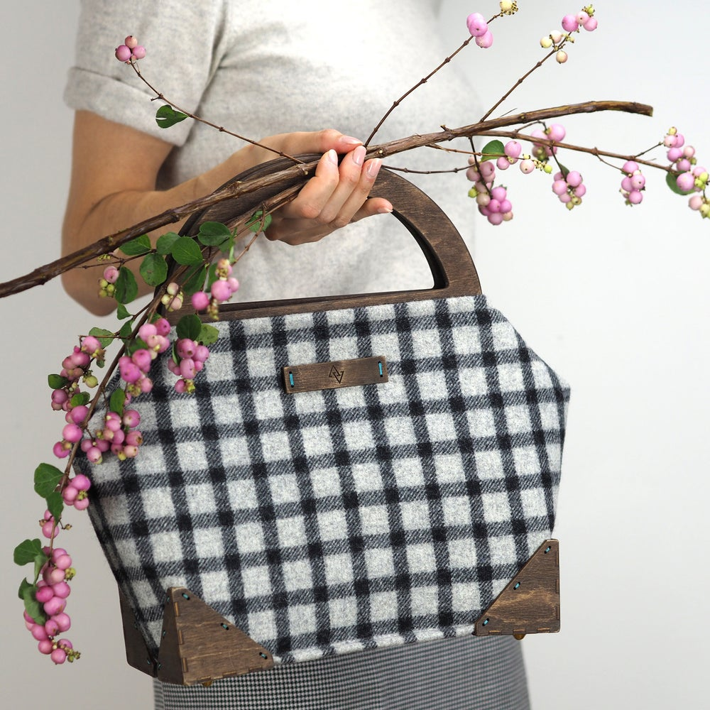 Image of Framed Handbag in Banff Wool Plaid Handmade in London England