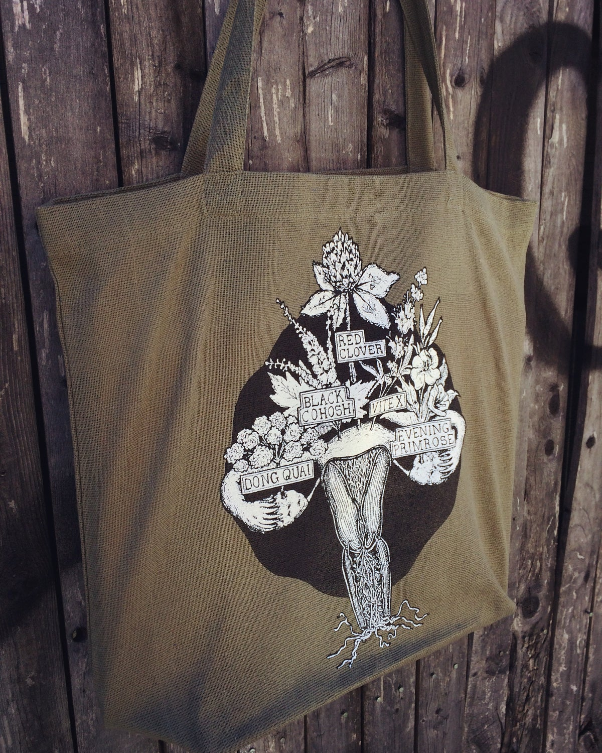 Image of HERBAL WOMB TOTE [recycled cotton bag]
