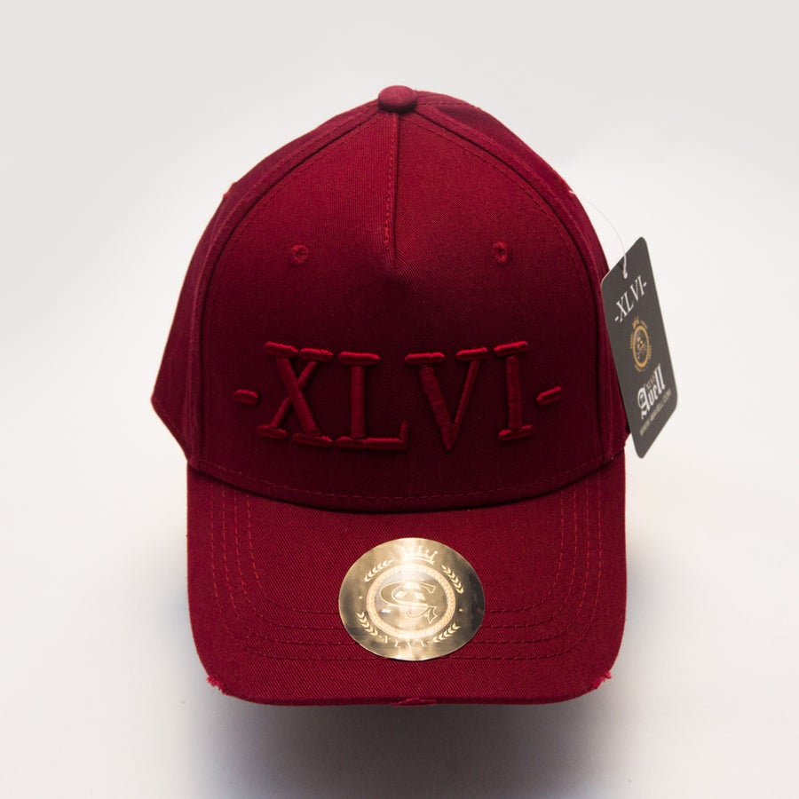 Image of All Maroon Distressed Cap