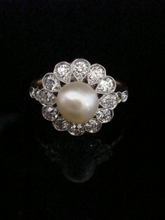 Image of EDWARDIAN 18CT PLATINUM NATURAL CERTIFICATED PEARL & DIAMOND CLUSTER RING