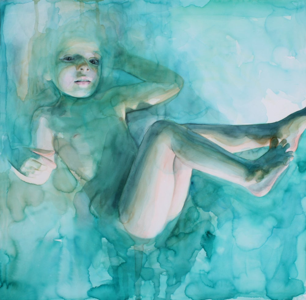 Image of In the dream she was floating, not completely submerged  21 x 21 inch signed print