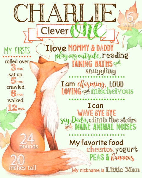 Image of Clever Fox Birthday Poster- boy, birthday, keepsake, poster, chalkboard, woodland, green, orange