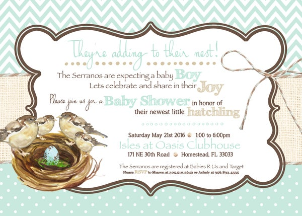 Image of Growing Nest Baby Shower Invitation- baby birds, robins egg blue, burlap, chocolate, burlap, baby