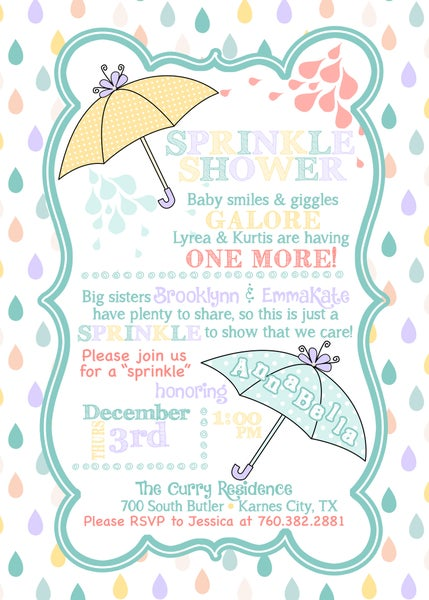 Image of Raindrops Baby Sprinkle Invitation- new baby, siblings, shower, umbrellas, lavender, teal, yellow