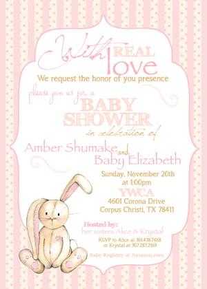Image of Velveteen Rabbit inspired Baby Shower Invitation- baby, shower, sprinkle, bunny, peach, gray, velvet