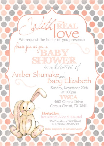 Image of Velveteen Rabbit inspired Baby Shower Invitation- baby, shower, sprinkle, bunny, peach, gray, velvet