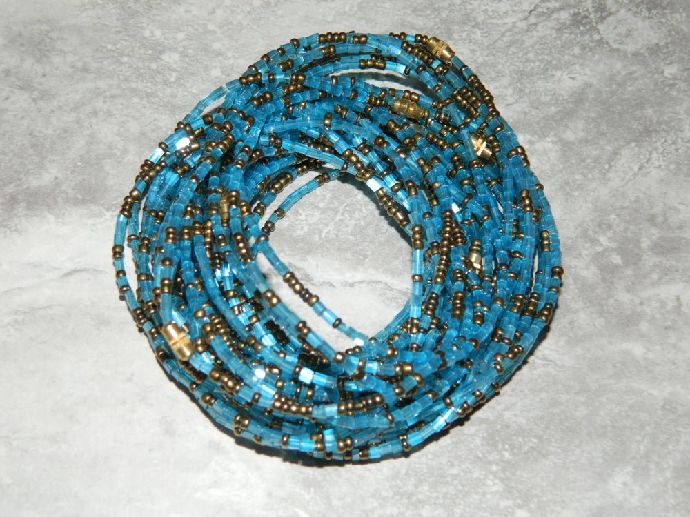 Image of Sky blue and gold jewel waist bead