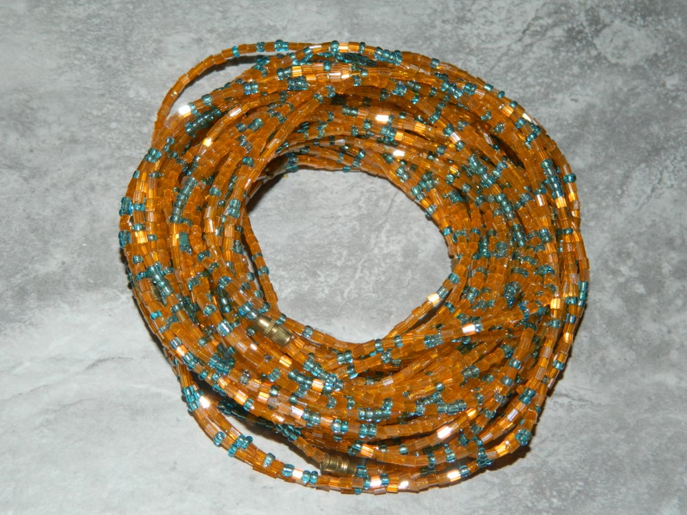 Image of Orange and light blue jewel waist bead