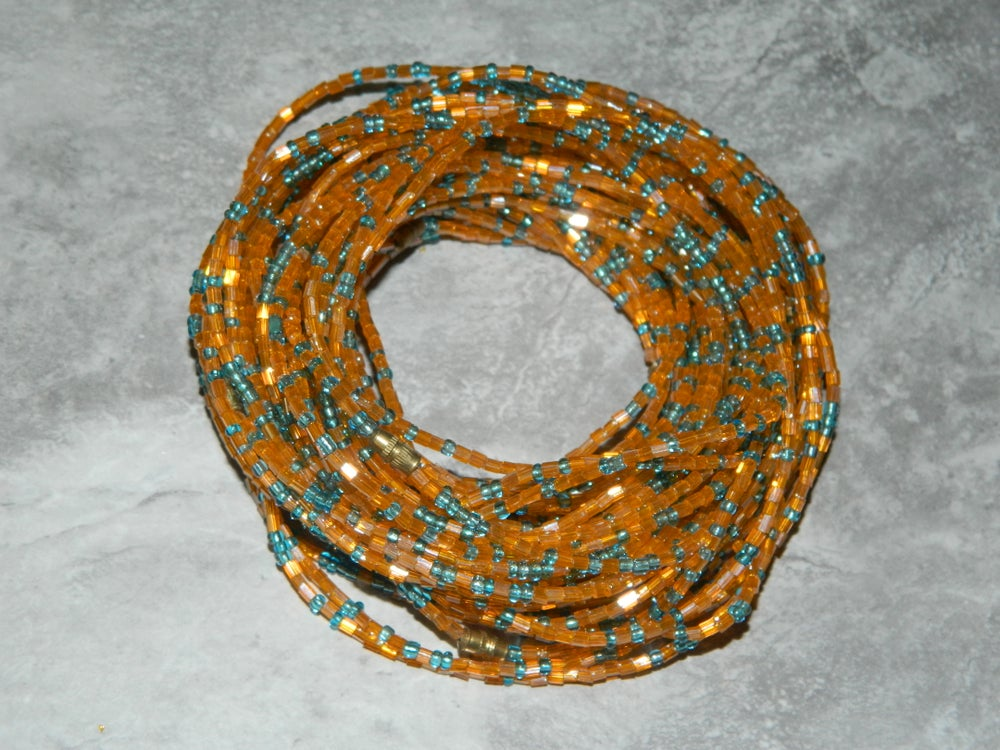 Image of Orange and light blue jewel waist bead