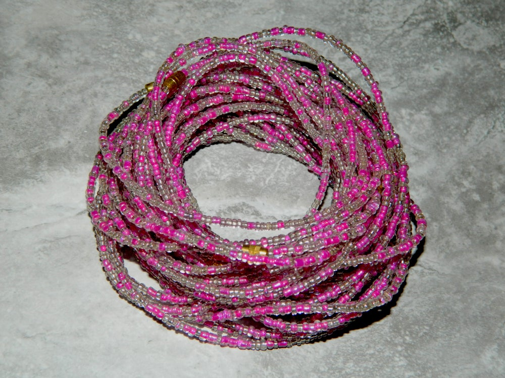 Image of Magenta and Clear waist bead