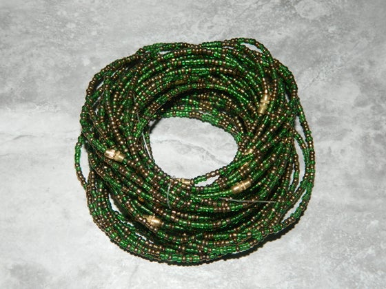 Image of Green and gold waist bead