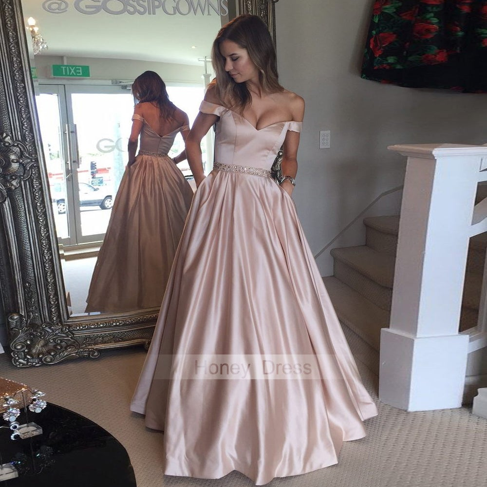 Honey Dress — Champagne Pink Satin Off-The-Shoulder A-Line BallGown ...