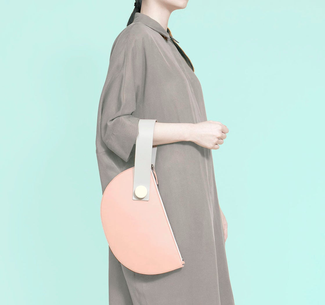 Image of Half Moon Clutch - BLUSH/LIGHT GREY