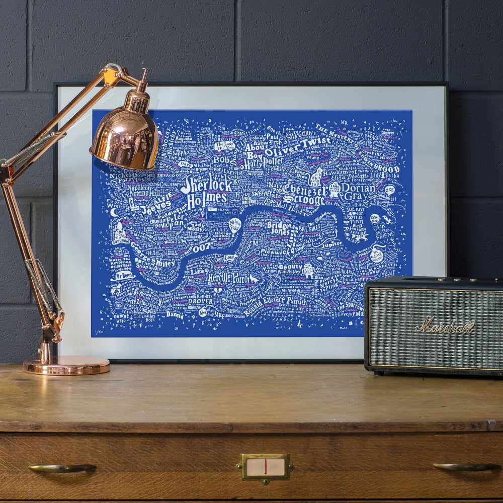 Image of Literary London Map (White & Pink on Royal Blue Plike)