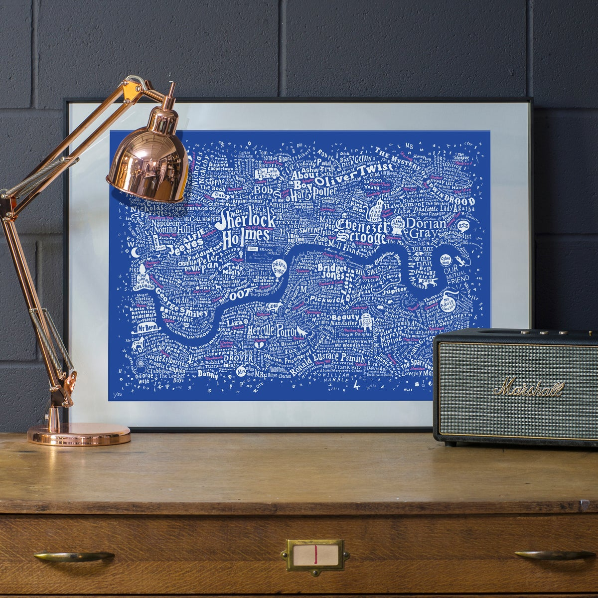 Image of Literary London Map (White & Pink on Royal Blue Plike 2016)