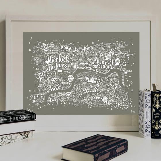 Image of Literary Central London Map (grey screenprint, 2015)