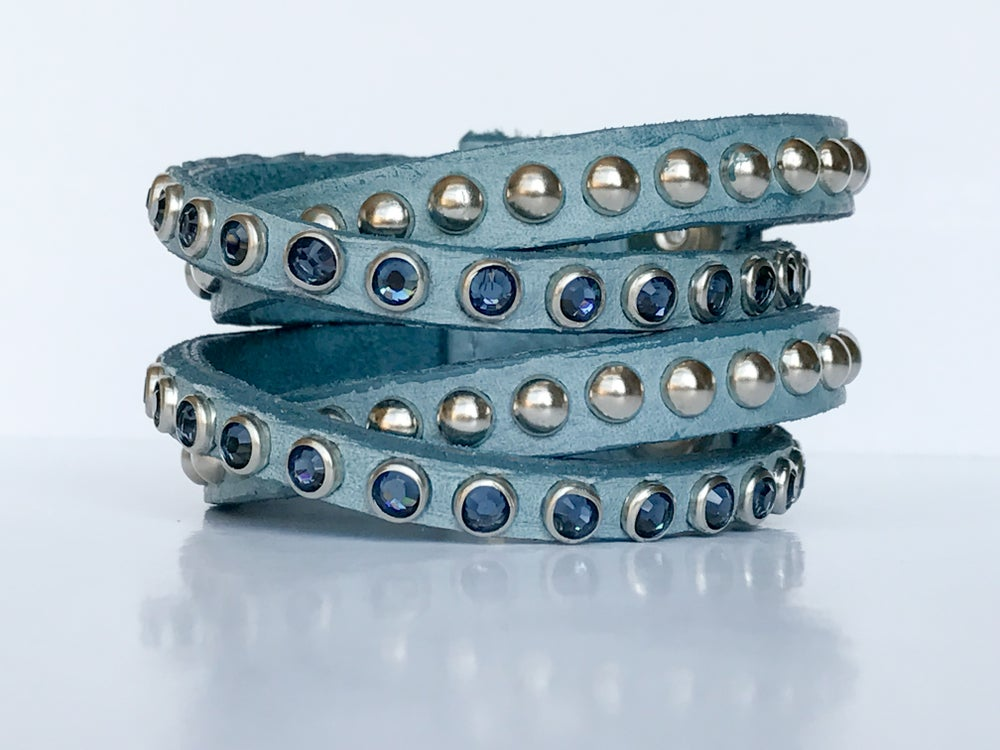 Image of Multi Strand Leather & Swarovski Bracelet - Denim Blue