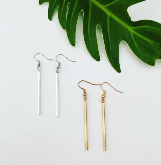 Image of Silver & Gold pole earrings