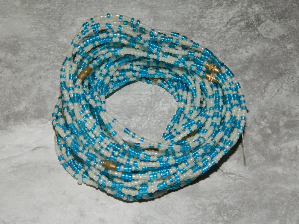 Image of Sky blue and white waist bead