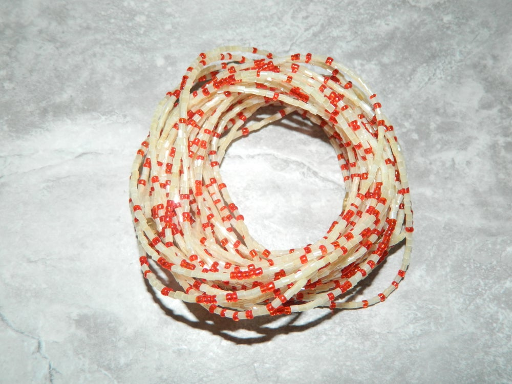 Image of White and red glass bead