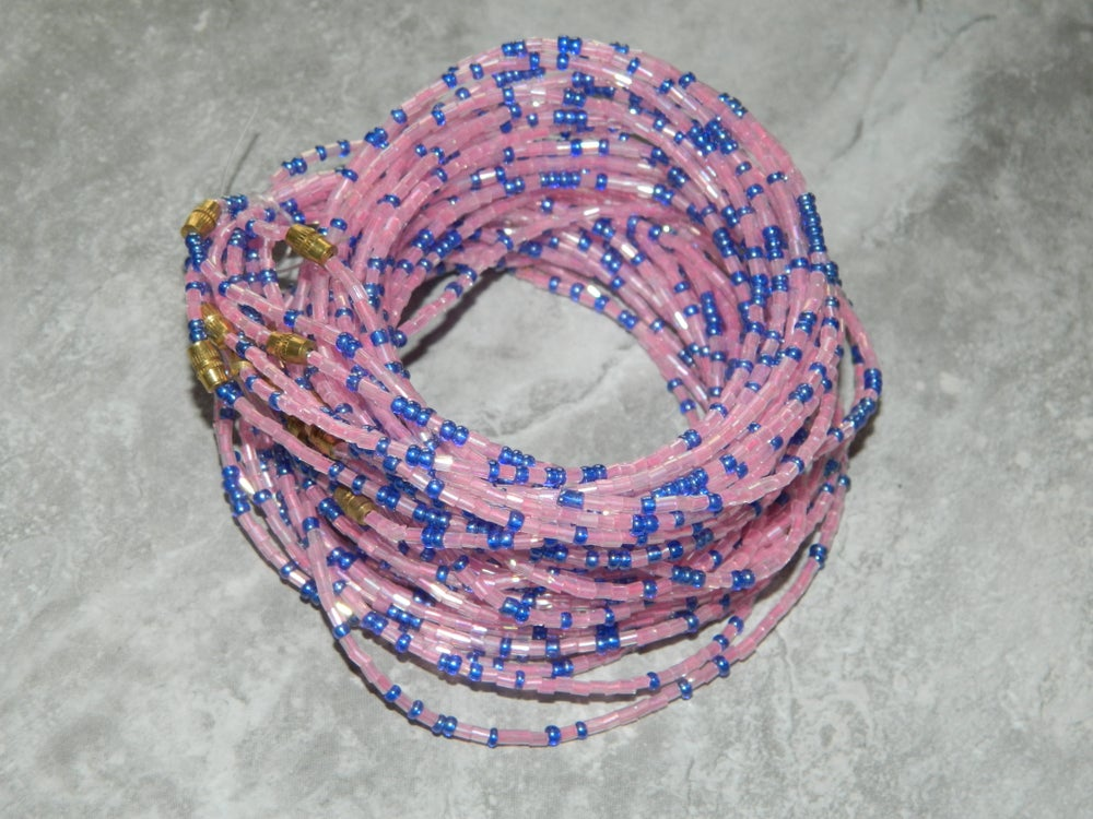 Image of Pink and blue glass waist bead
