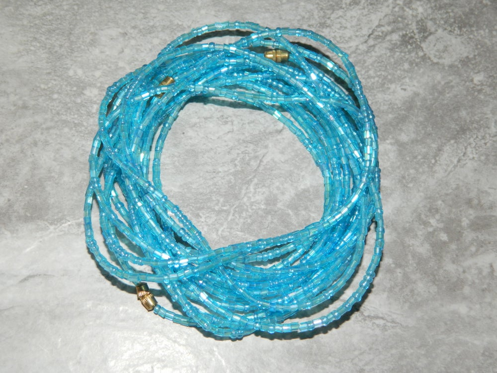 Image of Light blue glass waist bead