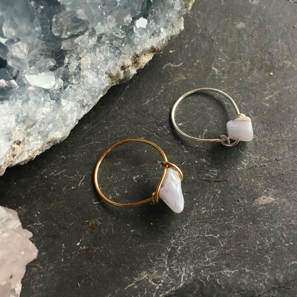 Image of Simple Blue Lace Agate Stone Ring - for calm SOLD OUT