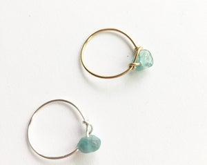 Image of Simple Aquamarine Stone Ring - for calm and courage BACK SOON